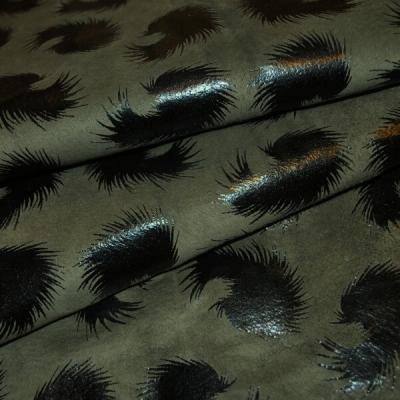Кожа Свиная Принт зеленые перья