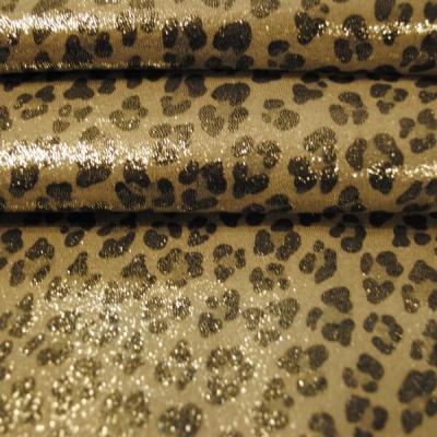 Кожа Свиная Принт золотисто-серый леопард
