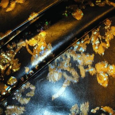 Кожа Свиная Принт золотые цветы