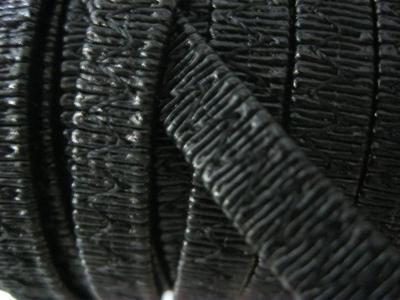 Резинка босоножная в кожаной оплетке 8 мм чёрная Италия