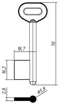 Заготовка для ключа ГПЗ МИНИ флажковая длина 70 мм