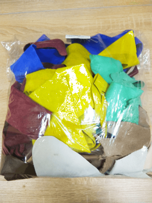 Кожа КРС обрезки разноцветные на вес в пакете
