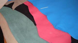 Кожа КРС толстая (обрезки) цвет голубой