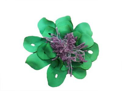 Декоративный цветок из кожи зелёный с сиреневой сердцевиной