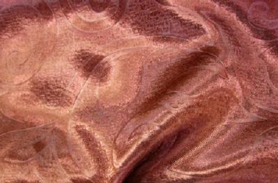 Портьерная ткань Блэкаут цвет бордово-коричневый рисунок завиток и листик