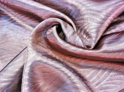 Портьерная ткань Блэкаут цвет бордовый рисунок морская водоросль