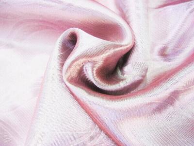 Портьерная ткань Блэкаут цвет розовый рисунок морские волны