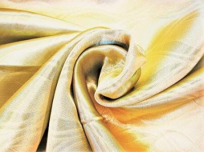 Портьерная ткань Блэкаут цвет золото рисунок морские волны