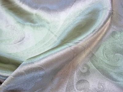 Портьерная ткань Блэкаут цвет светло-зеленый рисунок завиток