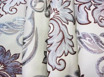 Портьерная ткань с люрексом бежевая растительный рисунок серебро с бордовым